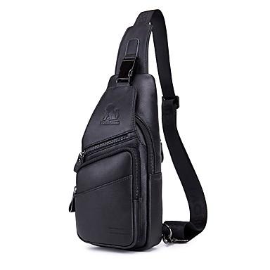 hesapli Fonksiyonel Çantalar-Erkek Fermuar Sling Omuz Çantaları Sığır Derisi Tek Renk Siyah / Kahve / Kahverengi