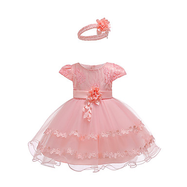 9963b93a Baby Girls' Active / Basic Party / Birthday Solid Colored Lace Short Sleeve  Above Knee Cotton Dress White