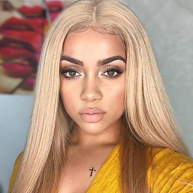 billige Blondeparykker med menneskehår-Ubehandlet hår Remy Menneskehår Blonde Forside Parykk Gaga stil Peruviansk hår Rett Parykk 150% Hair Tetthet med baby hår Silkete Ombre-hår Naturlig hårlinje Med Blekt Knotter to tone Dame Lang