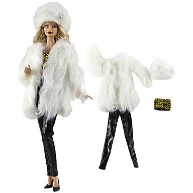voordelige Poppenaccessoires-Doll accessoires Pop Outfit Poppenbroek Casual Lolita Tweedelig Voor Barbie Modieus zwart / wit Geweven stof Doek Katoenen Doek Jas / Top / Broeken Voor voor meisjes Speelgoedpop