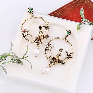 hesapli Moda Küpeler-Kadın's Damla Küpeler 3D Kuş Bayan Şık Klasik İmitasyon İnci Küpeler Mücevher Altın Uyumluluk Günlük 1 çift