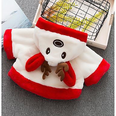 levne Dětské bundičky a kabátky-Dítě Dívčí Základní Jednobarevné Dlouhý rukáv Standardní Bavlna Bundičky a kabáty Rubínově červená