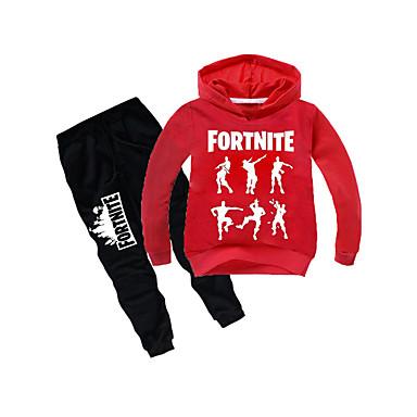 preiswerte Kleidersets für Jungen-Kinder Jungen Grundlegend Cartoon Design Langarm Standard Kleidungs Set Schwarz