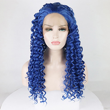 Synthetic Lace Front Wig Women s Afro Curly   Tight Curl Blue Free Part  180% Density e7b264c52d