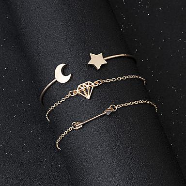 abordables Bracelet-3pcs Chaînes Bracelets Manchettes Bracelets Bracelet Pendentif Femme Creux Lune Etoile dames simple Coréen Mode Le style mignon Bracelet Bijoux Dorée Forme Pointue pour Cadeau Quotidien Plein Air