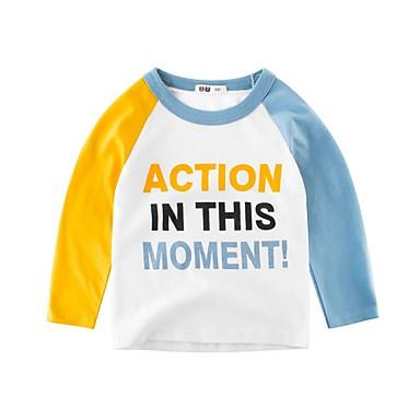 baratos Camisas para Meninos-Infantil Para Meninos Básico Diário Para Noite Azul e Branco Estampado Estampado Manga Longa Padrão Algodão Camiseta Branco