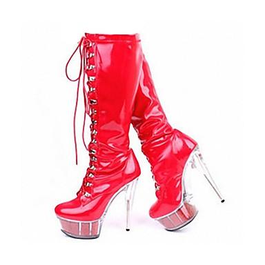 povoljno Ženske čizme-Žene PU Zima Klasik Čizme Stiletto potpetica Okrugli Toe Čizme do koljena Zakovica Crn / Crvena / Pink / Zabava i večer