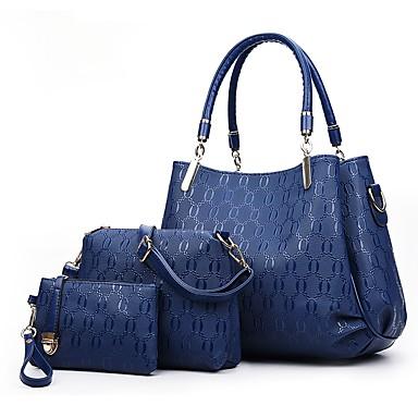 b5dec3c530 Γυναικεία Τσάντες PU Σετ τσάντα 3 σετ Σετ τσαντών Κουμπί   Φερμουάρ  Συμπαγές Χρώμα Χρυσό   Μαύρο   Ρουμπίνι