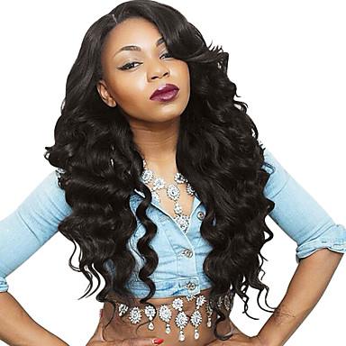 Emberi haj Tüll homlokrész Csipke eleje Paróka Brazil haj Hullámos haj Paróka 130% 150% Haj denzitás baba hajjal Természetes hajszálvonal Afro-amerikai paróka 100% kézi csomózású Női 24 hüvelyk 26