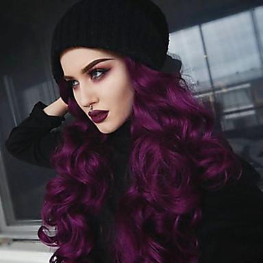 Lănțișoare frontale din sintetice Ondulat / Buclat în Profunzime Stil Partea gratuită Față din Dantelă Perucă Violet Bright Purple Păr Sintetic 22-26 inch Pentru femei Clasic / Dame / sexy Lady Violet