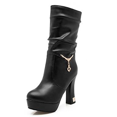 voordelige Dameslaarzen-Dames Imitatiebont Winter Informeel / minimalisme Laarzen Blokhak Ronde Teen Kuitlaarzen Siernagel / Sprankelend glitter Wit / Zwart / Geel