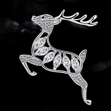 Žene Kubični Zirconia Broševi Klasičan Jelen dame Europska Glina Austrijski kristal Broš Jewelry Pink Za Božić