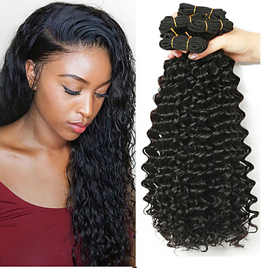 3 paketa Indijska kosa Duboko Val Ljudska kosa Netretirana  ljudske kose Ljudske kose plete Produžetak Bundle kose 8-28 inch Prirodna boja Isprepliće ljudske kose Kreativan proširenje Najbolja / 8A