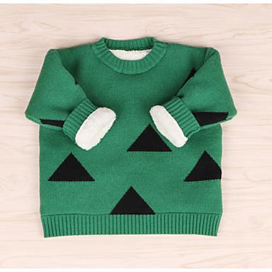 baratos Suéteres & Cardigans para Meninas-Bébé Para Meninas Básico Sólido Geométrica Manga Longa Suéter & Cardigan Verde