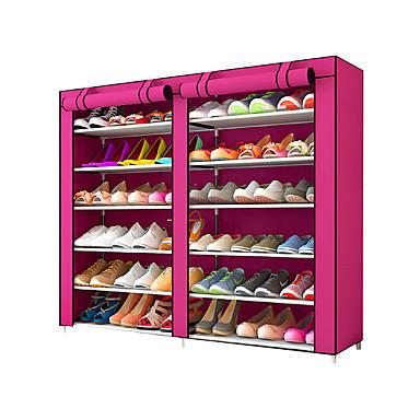abordables Accessoires pour Chaussures-Cintre & Range Chaussures Tissus non-tissés 36 paires Unisexe Chocolat / Fuschia / # Vin rouge (anti-rides)