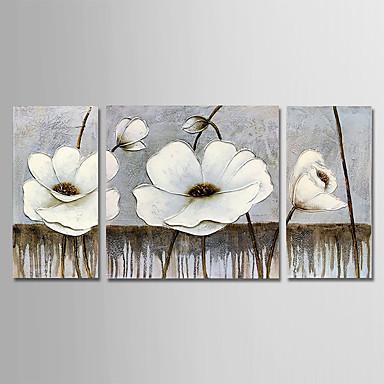Hang oslikana uljanim bojama Ručno oslikana - Cvjetni / Botanički Moderna Uključi Unutarnji okvir / Tri plohe / Prošireni platno