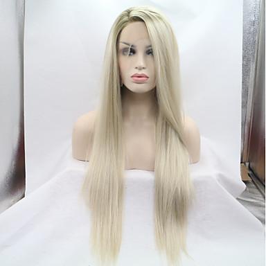 Prednja perika od sintetičkog čipke Kinky Ravno Stil Stepenasta frizura Lace Front Perika Zlatna Svijetlo zlatna Sintentička kosa 26 inch Žene Žene Zlatna Perika Srednja dužina Sylvia 130% Ljudski