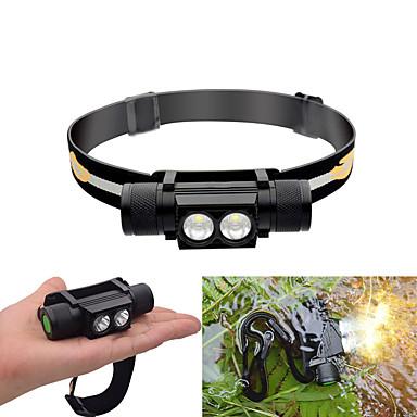 billige Lommelykter & campinglykter-Hodelykter 30-550 lm LED LED 2 emittere 6 lys tilstand med batterier Vanntett Justerbar Holdbar Camping / Vandring / Grotte Udforskning Sykling Jakt Svart