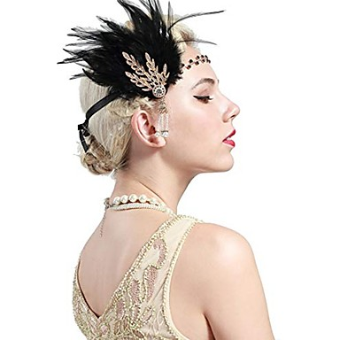 The Great Gatsby Vintage 1920s Costume Women's Flapper Headband Head Jewelry Black / Golden Vintage Cosplay Party Prom Sleeveless / Feather