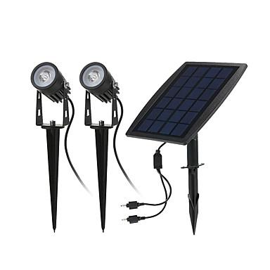 billige Utendørsbelysning-1pc 4 W plen Lights / Led Street Light Solar / Infrarød sensor / Dekorativ Varm hvit 3.7 V Utendørsbelysning 2 LED perler