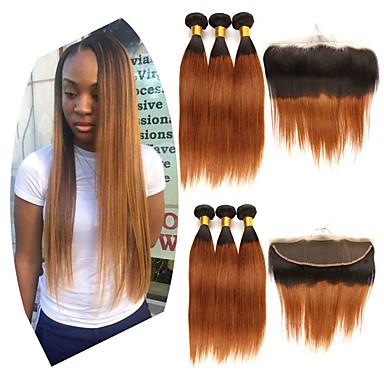 3 paketi s zatvaranjem Brazilska kosa Ravan kroj Remy kosa Ekstenzije od ljudske kose Kosa potke zatvaranje 10-24 inch Isprepliće ljudske kose Modni dizajn Nježno Najbolja kvaliteta Proširenja