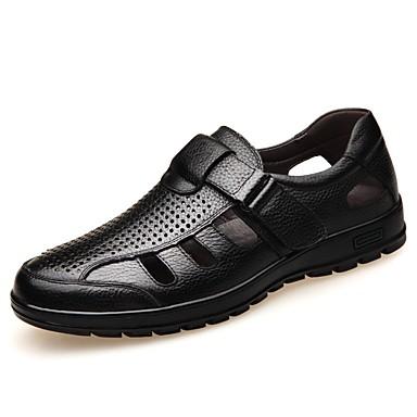 رجالي أحذية الراحة Leather نابا الصيف صنادل أسود / بني