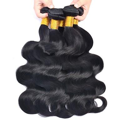baratos Extensões de Cabelo Natural-6 pacotes Cabelo Brasileiro Onda de Corpo 8A Cabelo Humano Não processado Cabelo Natural Peça para Cabeça Cabelo Humano Ondulado Cuidados com Cabelo 8-28 polegada Côr Natural Tramas de cabelo humano