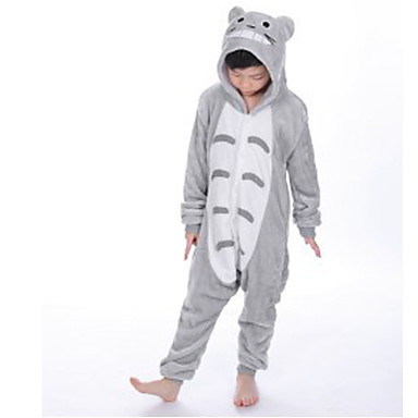 Kid's Kigurumi Pajamas Cat Totoro Onesie Pajamas Flannel Fabric Gray Cosplay For Boys and Girls Animal Sleepwear Cartoon Festival / Holiday Costumes