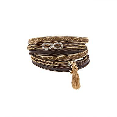 abordables Bracelet-Bracelets en cuir Bracelets de mémoire Femme Fantaisie Cuir Mode British Bracelet Bijoux Marron pour Cadeau Quotidien