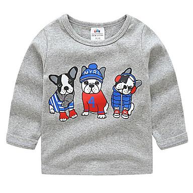 baratos Camisas para Meninos-Bébé Para Meninos Activo Diário Sólido Geométrica Manga Longa Padrão Camiseta Vermelho