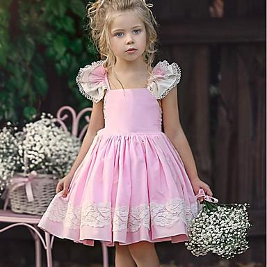 baratos Princesa-Infantil Bébé Para Meninas Doce Diário Sólido Renda Sem Manga Altura dos Joelhos Vestido Rosa
