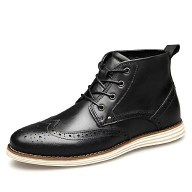 Erkek Ayakkabı Nappa Leather Sonbahar Kış Çizmeler Bootiler / Bilek Botları Günlük için Siyah / Kahve / Kahverengi