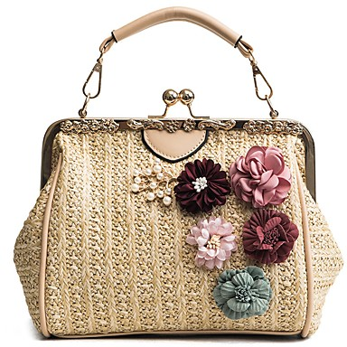 cheap Going to the beach-Women's Bags Straw Top Handle Bag Flower Black / Beige / Khaki