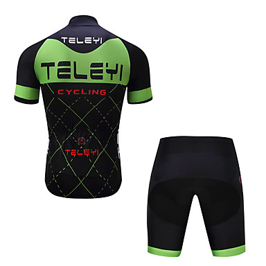 5dffd29ff TELEYI Men s Short Sleeve Cycling Jersey with Shorts - Green   Black Plaid    Checkered Bike