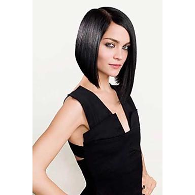 halpa Aitohiusperuukit verkolla-Aidot hiukset 100% käsinsidottu Lace Front Peruukki Bob-leikkaus tyyli Brasilialainen Suora Peruukki 130% 150% Hiusten tiheys ja vauvan hiukset Luonnollinen hiusviiva Afro-amerikkalainen peruukki