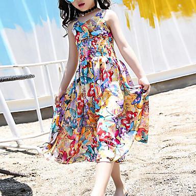 お買い得  女児 ドレス-子供 女の子 甘い ボヘミアン 日常 ビーチ バタフライ カートゥン プリント ノースリーブ レーヨン ドレス イエロー