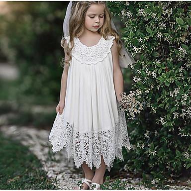 baratos Princesa-Infantil Para Meninas Doce Diário Sólido Renda Sem Manga Longo Vestido Branco
