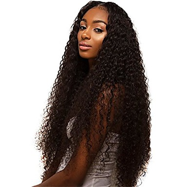 Virgin kosa Remy kosa Full Lace Perika Stepenasta frizura Srednji dio Stražnji dio stil Brazilska kosa Kinky Curly Natural Perika 150% Gustoća kose Nježno Prirodno Prirodna linija za kosu