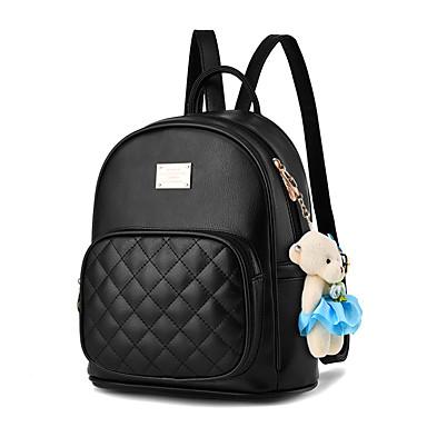 abordables Sacs-Femme Plumes / Fourrure / Fermeture sac à dos sac à dos Faux Cuir Treillis Bleu de minuit / Bronze / Vin
