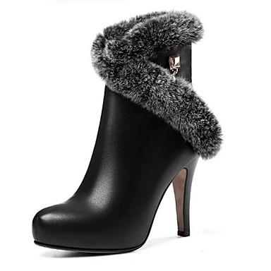 2019 Moda Per Donna Pelle Primavera - Autunno Inverno Stivaletti A Stiletto Punta Tonda Stivaletti - Tronchetti Bianco - Nero #07064197