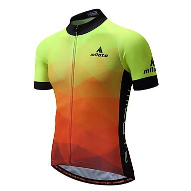 Miloto Homens Manga Curta Camisa para Ciclismo Luminoso Moto Camisa / Roupas Para Esporte Blusas Pavio Humido Bolso Traseiro Esportes 100% Poliéster Ciclismo de Montanha Roupa / Com Stretch