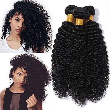 4 paketića Kinky Curly Ljudska kosa Netretirana  ljudske kose Headpiece Ljudske kose plete Styling kose 8-28 inch Crna Prirodna boja Isprepliće ljudske kose Waterfall Nježno Party Proširenja ljudske