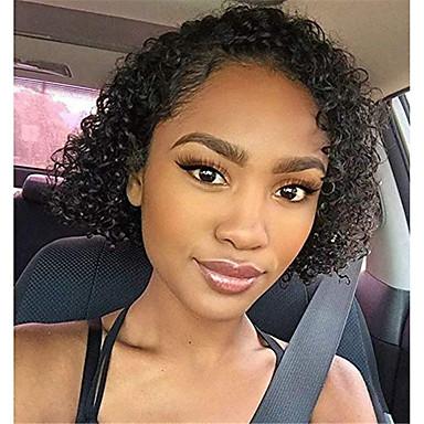 Remy kosa Full Lace Lace Front Perika Asimetrična frizura Rihanna stil Brazilska kosa Kovrčav Afro Kinky Natural Crna Perika 130% 150% 180% Gustoća kose Nježno Klasični Žene Najbolja kvaliteta