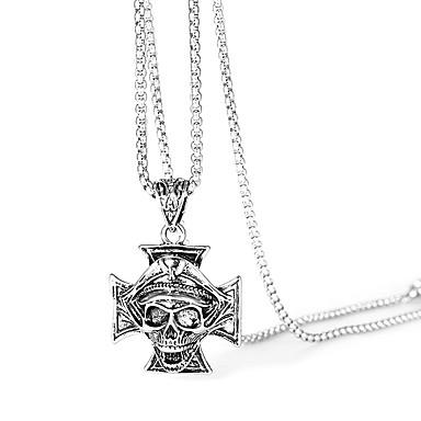 voordelige Herensieraden-Heren Verklaring Kettingen Sculptuur Kruis Schedel Rock Hip-hop satanisch Roestvast staal Zilver 44.6 cm Kettingen Sieraden 1pc Voor Straat Club