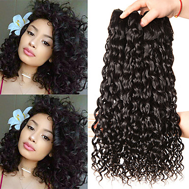 3 paketa Indijska kosa Water Wave Ljudska kosa Netretirana  ljudske kose Wig Accessories Headpiece Ljudske kose plete 8-28 inch Prirodna boja Isprepliće ljudske kose Ples Gust Kosa od svilene kose