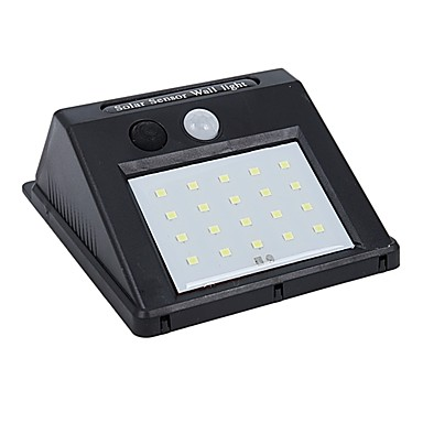 billige Utendørsbelysning-1pc 4 W Solar Wall Light Vanntett / Solar / Lysstyring Hvit 5 V Utendørsbelysning / Courtyard / Have 20 LED perler