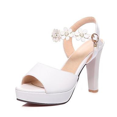 رخيصةأون صنادل نسائية-نسائي PU الصيف كاجوال / شيوع كعوب كعب متوسط أحذية أصبع القدم لؤلؤ تقليد أبيض / أسود / البيج