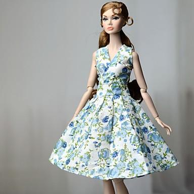 voordelige Poppenaccessoires-Poppenjurk Jurken Voor Barbie Bloemen Bloem Flora Botanisch Blauw Doek Katoenen Doek Ongeweven Kleding Voor voor meisjes Speelgoedpop