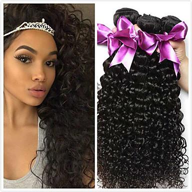 4 paketića Peruanska kosa Kinky Curly Ljudska kosa Netretirana  ljudske kose Headpiece Ljudske kose plete Styling kose 8-28 inch Prirodna boja Isprepliće ljudske kose Waterfall Nježno Klasični