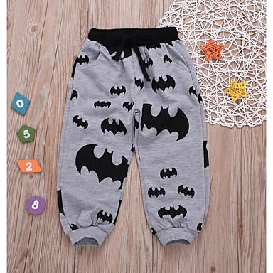 baratos Calças para Meninos-Bébé Para Meninos Activo Diário Sólido Geométrica Calças Cinzento Escuro